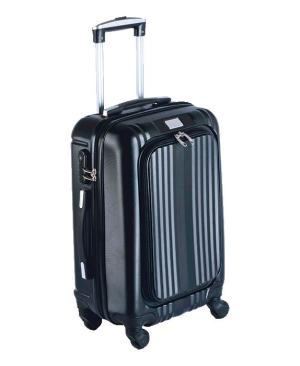 Hard Shell Trolley Luggage Bag With Front Pocket - Avail in: Black