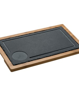 Bamboo serving plate/platter with slate board