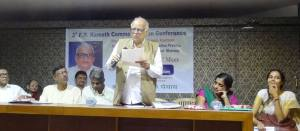 Sri. Nagesh Karmali  reading his ppoem during the Multilingual Poets' Meet