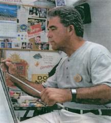 Patrick Smith using a mahl stick on a project