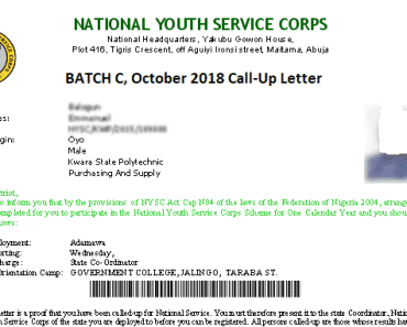 NYSC Batch C Call-Up Letter Printing