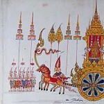 This is how a Dutchman preserved the 1704 cremation procession and ceremony of a Thai king in ancient Ayutthaya. The coloured copy Ca 128 (foreign) is however inaccurate in many details.