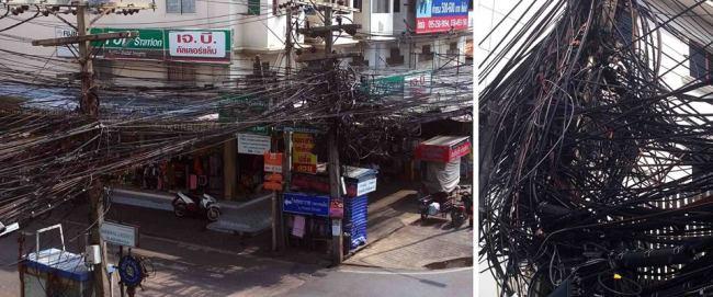 Auch wer in Thailand mit Handwerkern zu tun hat, kann einen Kulturschock erleiden: Strom- und Telefonleitungen im Sehbad Pattaya. (Bild © hmh.)