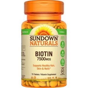 Sundown Naturals Biotin 7500mcg 75 Tablets