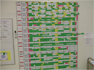 A lab schedule that handles complexity visually.