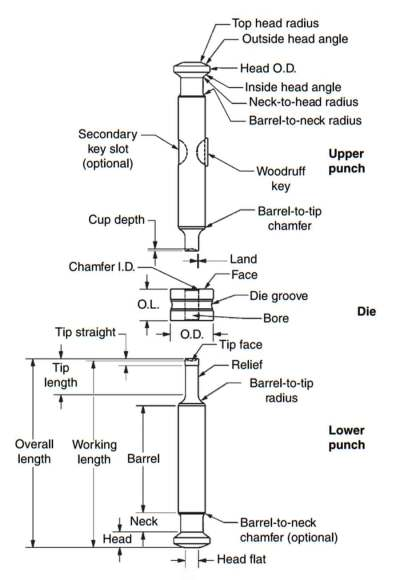 Tablet press: Labelled diagram of a tablet press tooling