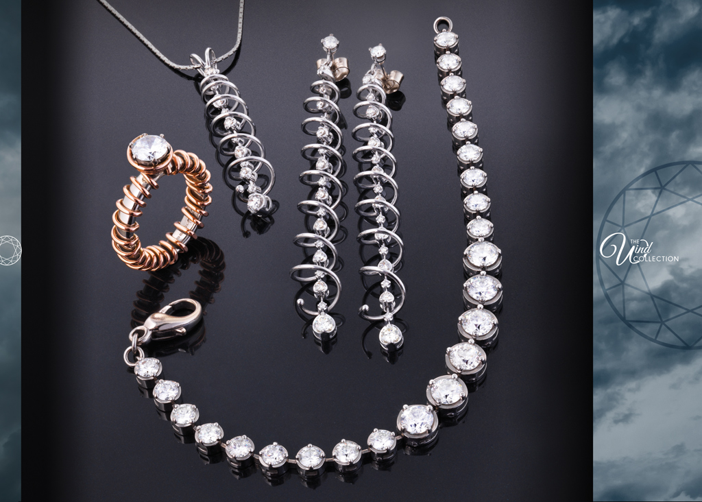 Page featuring jewellery from the Wind Collection.