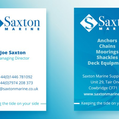 The business card features individual contact details on one side, and general company information on the other.