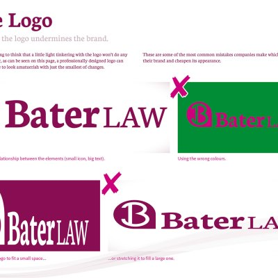 This page from the brand guidelines shows how even a professionally designed logo can look bad when it is applied incorrectly.