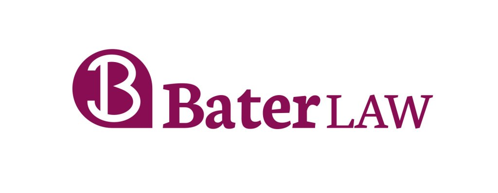 New Bater Law logo, red on white.