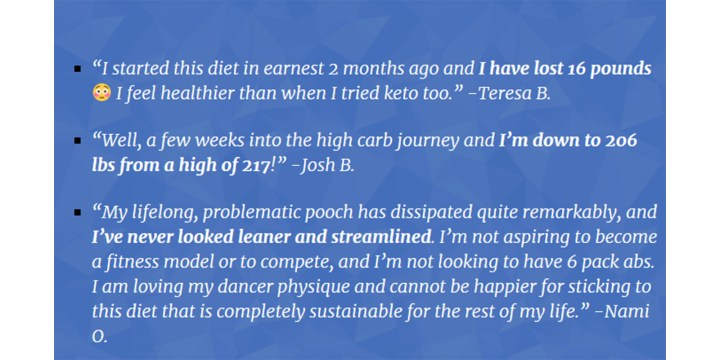 High Carb Fat Loss customer review