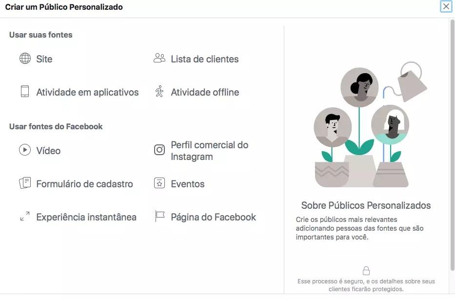Escolhendo as opções de públicos personalizados do facebook para campanhas de remarketing