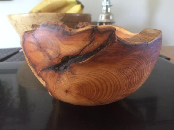 This Yew bowl came with added attitude!  It reminded me for the need for Health and Safety.