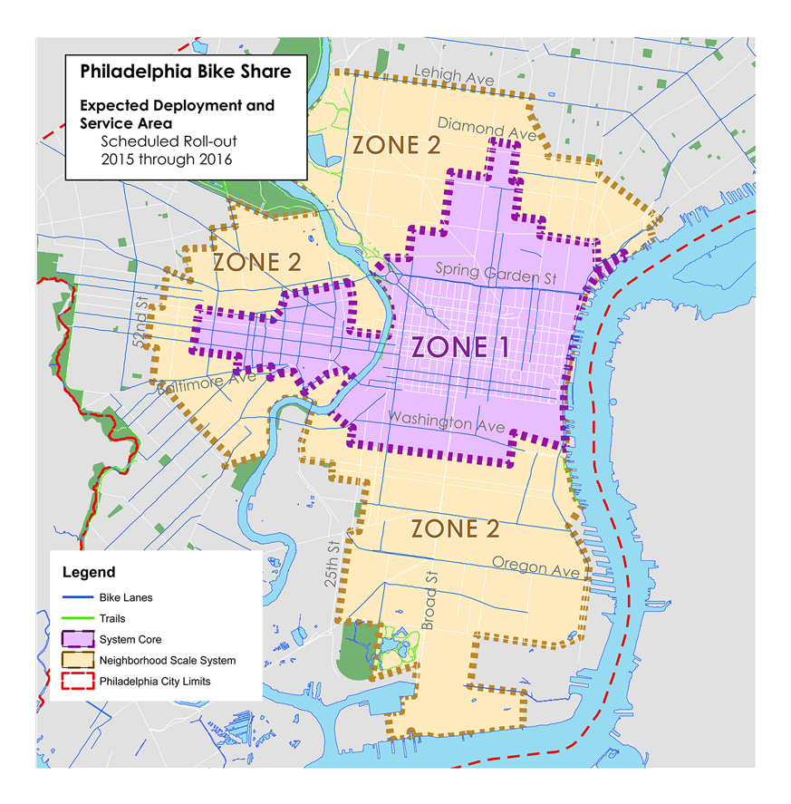 Zone 1: Girard to Federal, river to river, plus Penn, Drexel, and Temple.  Zone 2: South of Lehigh, east of 52nd.