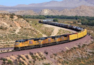 A Union Pacific Freight Train at Frost Fly-Over, Victorville, California.