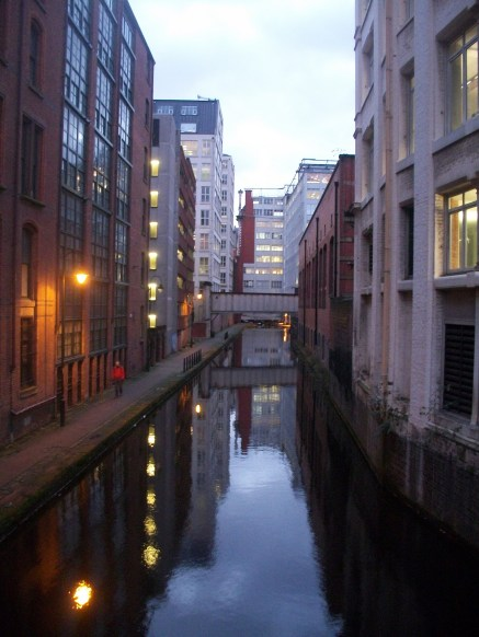 City Centre Manchester buildings and canal early evening