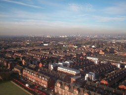 Winter morning Aerial view towards Manchester City Centre from Longsight