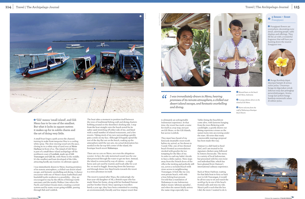 Garuda Indonesia in flight magazine 'Colours'