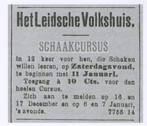 Advertentie schaakcursus Leidsche Volkshuis 1912