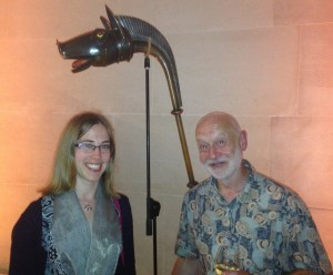 Curator Julia Farley & John Kenny, carnyx player