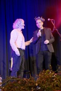 John Marchant accepts the award of Honorary Bard of OBOD on behalf of artist Jamie Reid, Glastonbury 2016