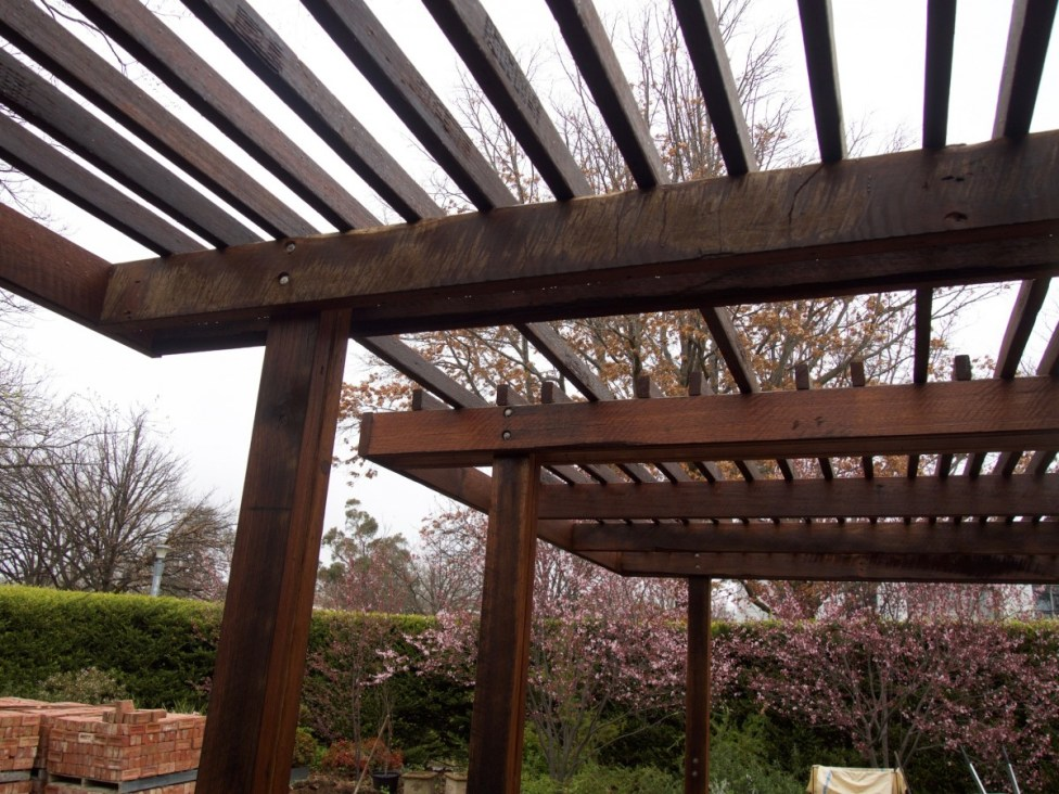Pergola detail, with recycled timbers from Thors Hammer