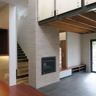 Split level between kitchen, sitting room and the study loft over