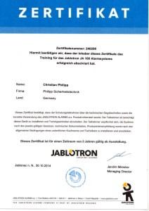 JABLOTRON JA-100 Zertifikat