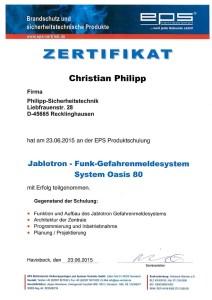 JABLOTRON OASIS Zertifikat