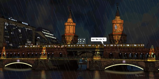 Berlin brück night rain DE -- Medium 100x50 229€ // Large 140x70 399€ // XLarge 180x90 579€