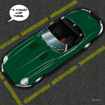 Jaguar type E // Parking -- Medium 80x80 239€ // Large 100x100 299€ // XLarge 120x120 449€