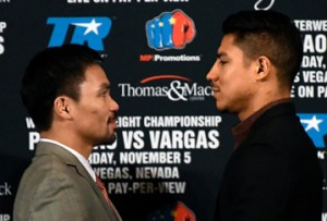 Sept 8, 2016. Beverly Hills CA. (L-R)  Boxing's only eight-division world champion Manny Pacquiao poses with two-division world champion Jessie Vargas during a LA press conference Thursday. The two will fight Nov 5th for the Welterweight Championship at the Thomas & Mac in Las Vegas NV.   photo by Gene Blevins/LA Daily News