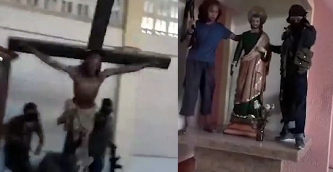 ISIS destroy caltholic idols in Philippines.