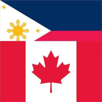 Canadian flag overlapping Philippines flag