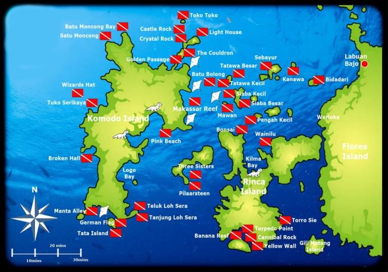 Carte des sites de plongée de Komodo
