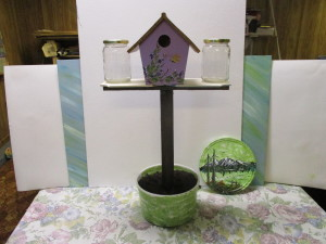 decorative  birdhouse mini plant stand