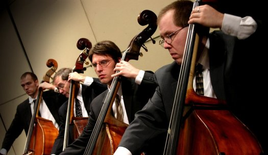 Phillip Serna leading the Northbrook Symphony Orchestra Double Bass Section