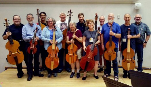 Madison Early Music Festival viola da gamba faculty Phillip Serna, Eric Miller & Lisa Terry with students