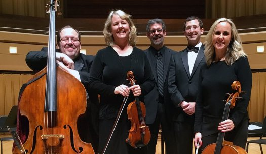 Phillip Serna with his North Central College faculty colleagues Mara Gallagher, Jon Warfel, Ben Nadel & Claire Langenberg at Wentz Hall, Naperville, IL