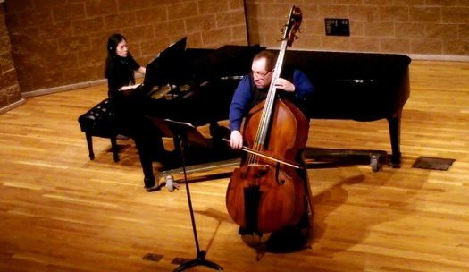 Performing Contrabass Unbound with Emily Katayama at Valparaiso University