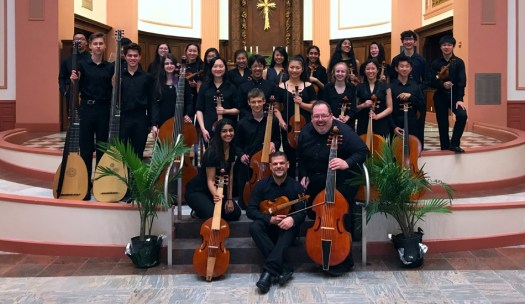 Phillip Serna co-directing Adlai E. Stevenson High School period-instrument Baroque ensemble & viol consorts at the Boston Early Music Festival.