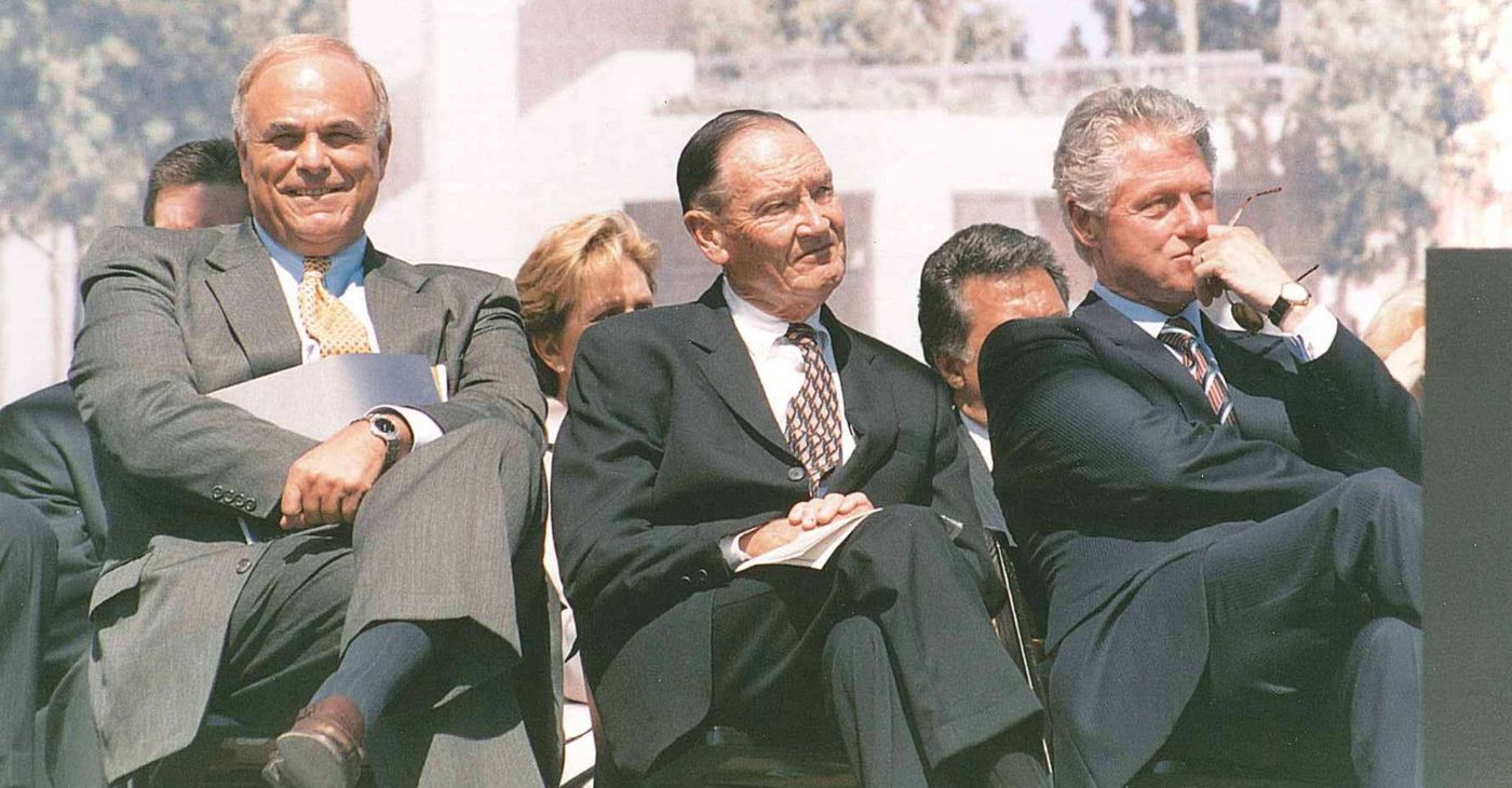 Bogle with Ed Rendell (left) and President Bill Clinton (right) in Philadelphia about 20 years ago. He said of the economy: