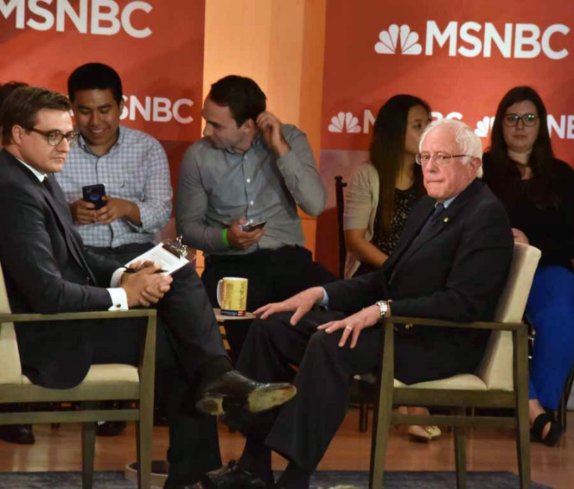 I don't think Bernie ever recovered from his anger on arrival as he was tense for the whole interview, often looking at his watch during the break as he was eager to get to his next stop, Drexel University for a rally where actress Susan Sarandon was scheduled to speak on his behalf.