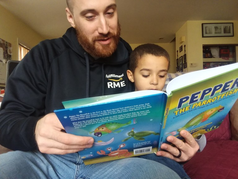 Husband Reading Pepper the Parrotfish