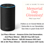 📣 Last Chance, Philly Coupon Mom Memorial Day Giveaway, ends 5/27!