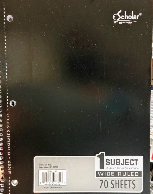 One Subject Notebook at Shoprite