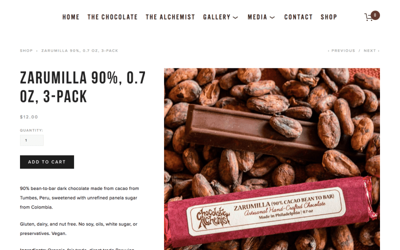 web design for chocolate alchemist