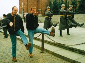 Marching with Mirror's Bradley Ormesher in Red Square
