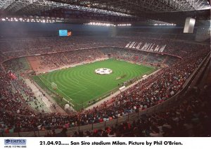 San Siro Stadium in Milan with UEFA Champions League star ball
