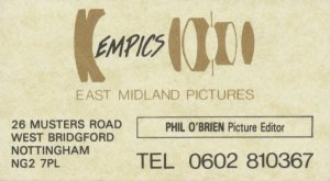 EMPICS Business Card c.1986